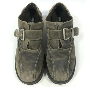 Bed Stu Distressed Suede Monk Strap Buckle Loafers